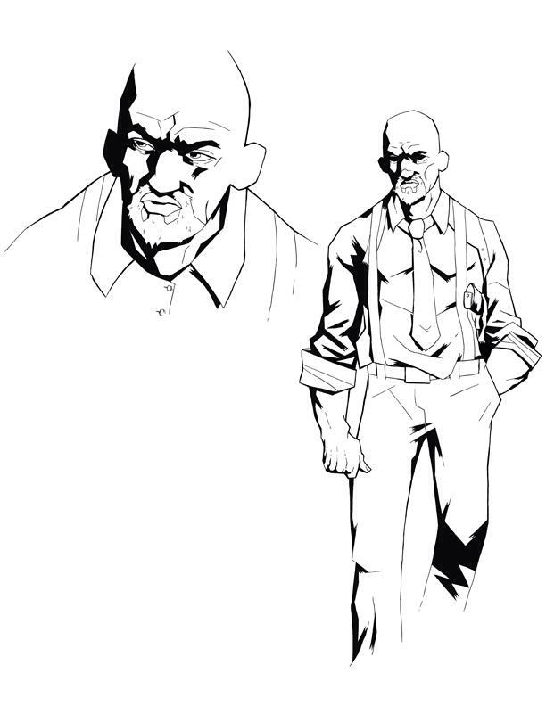 Sketch of Arthur Bishop, the protagonist of Nightcross