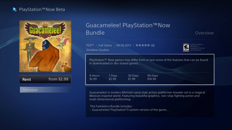 PS NOW Guacamelee pricing