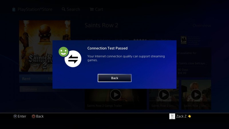 Test Connection Screen PS NOW