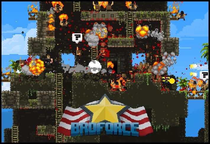 BroForce logo and gameplay