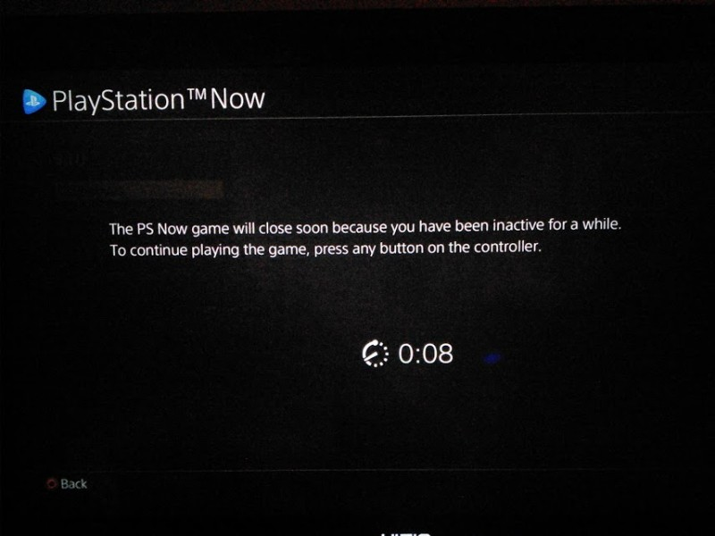 PS NOW idle warning