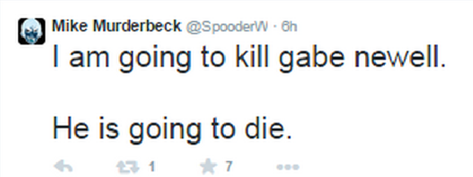 Gaben death threat tweet