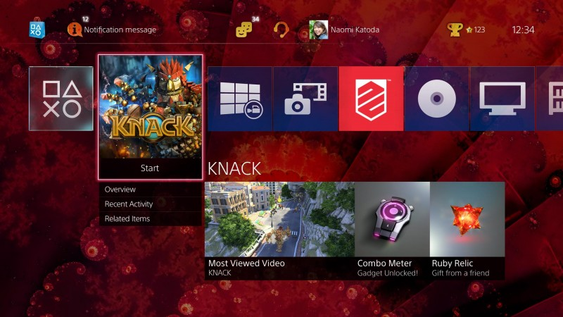PS4 dashboard Xmb