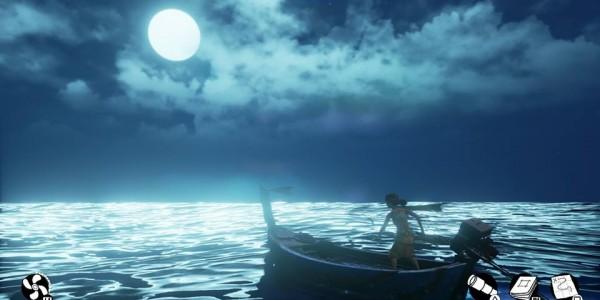 Submerged city flood night moon boat