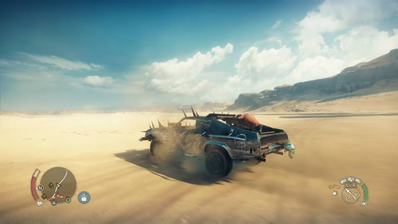 Mad max driving desert day