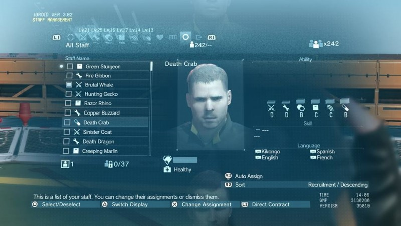 MGS V manage base people
