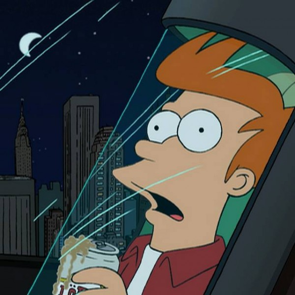 """Fry accidentally gets cryogenically frozen in the series premiere, """"Space Pilot 3000."""""""