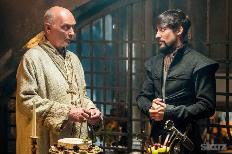 The impostor Pope Sixtus (James Faulkner) and his son Girolamo Riario (Blake Ritson) plot their crusade. Photo by Starz.