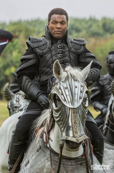 Carlo (Ray Fearon) and the Labyrinth disrupt Leonardo's peaceful dream world. Photo by Starz.