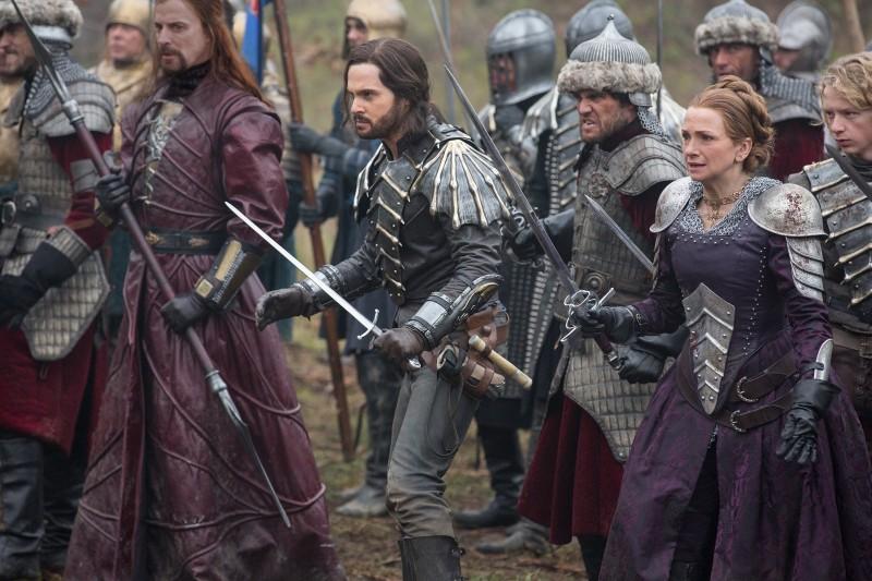 Vlad the Impaler (Paul Rhys), Leonardo da Vinci (Tom Riley), Laura (Simone Lahbib), and Nico (Eros Vlahos) face the Ottomans on the battlefield. Photo via Far, Far Away Site.