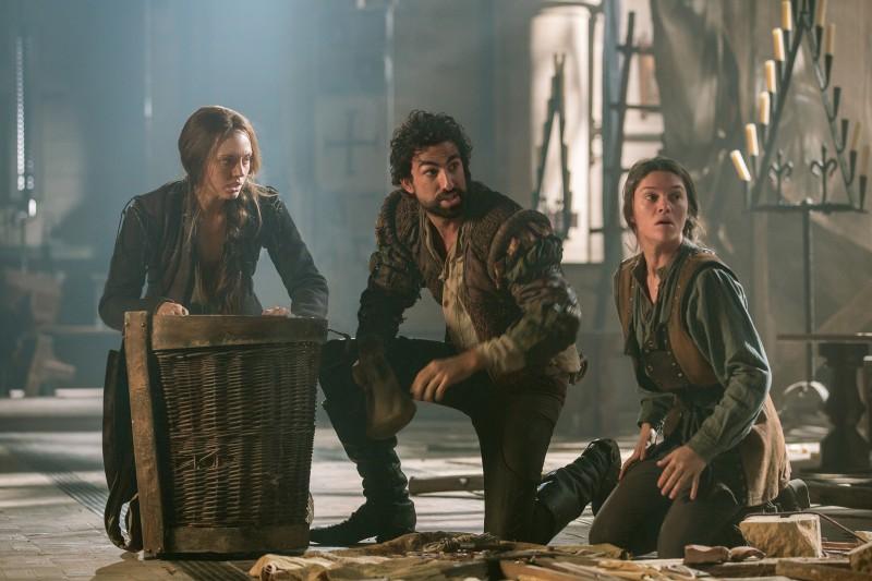 Lucrezia (Laura Haddock), Zoroaster (Gregg Chillin), and Sophia (Sabrina Bartlett) come up with a plan to save Italy. Photo via Far, Far Away Site.