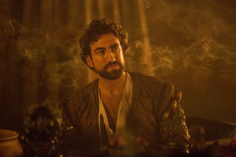 Gregg Chillin as Zo, the show's often comedic relief character. Da Vinci's Demons season three, episode eight. Photo by Starz.