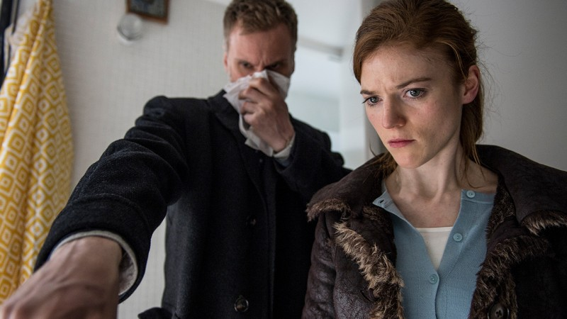 DCI Theo Bloom (Darren Boyd) and DS Emma Lane (Rose Leslie) investigate a horrific crime scene. Luther season four. Photo by BBC America.