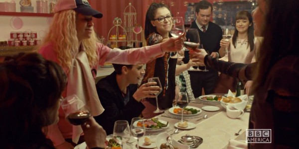 No, you're not seeing doubles; you're seeing quadruples. That's a four-clone scene. Helena (Tatiana Maslany), Cosima (Tatiana Maslany), Alison (Tatiana Maslany), and Sarah (Tatiana Maslany) are toasting the Clone Club. Photo by BBC America.
