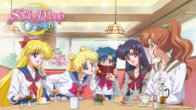 Minako, Usagi, Ami, Rei, and Makoto enjoy some tea and each other's company at Game Center Crown. Photo by Toei Animation.