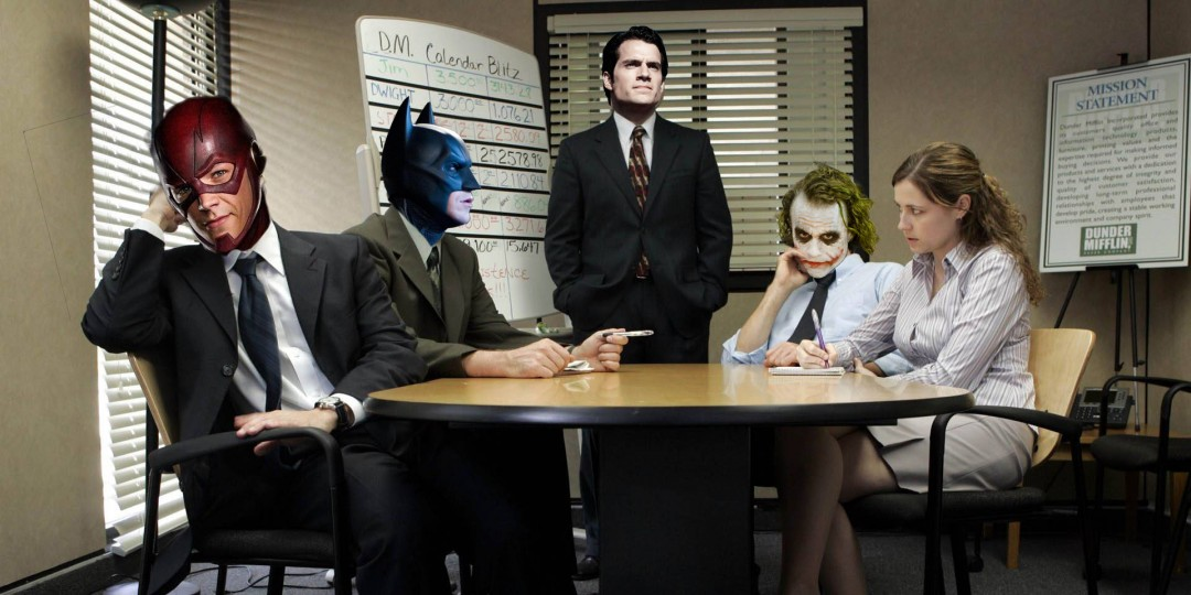 The Flash, Batman, Joker, Superman (Workplace)