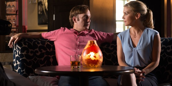Bob Odenkirk as Jimmy McGill and Rhea Seehorn as Kim Wexler - Better Call Saul _ Season 2, Episode 1 - Photo Credit: Ursula Coyote/Sony Pictures Television/AMC