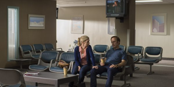 Bob Odenkirk as Jimmy McGill, Rhea Seehorn as Kim Wexler - Better Call Saul _ Season 2, Episode 10 - Photo Credit: Ursula Coyote/AMC