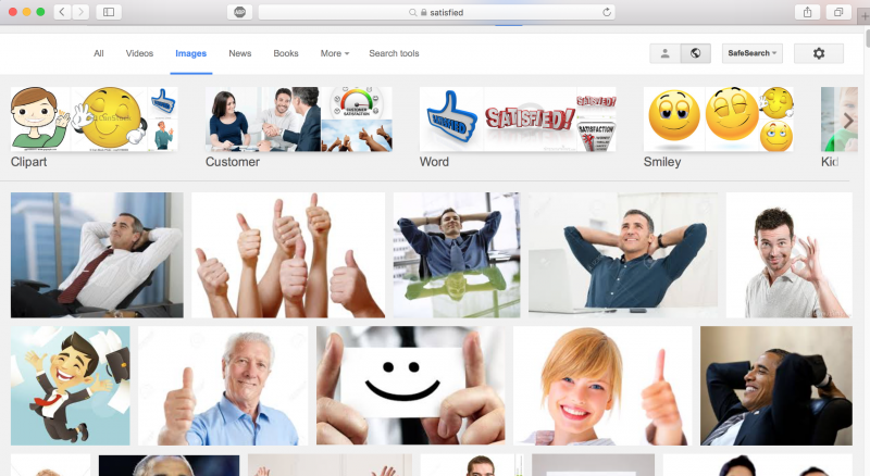 Apparently, being satisfied is mostly for dudes sitting in chairs according to google.