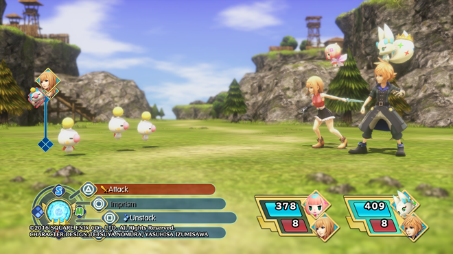 The setup for World of Final Fantasy's battle system.