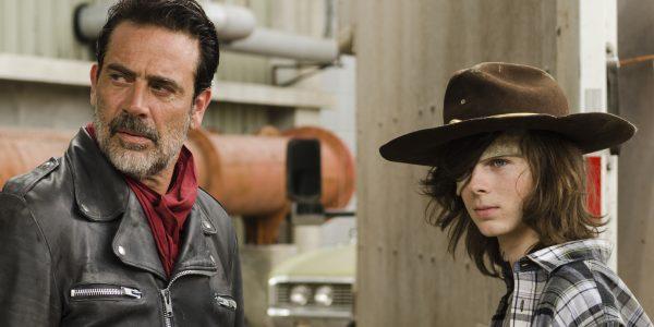 Chandler Riggs as Carl Grimes, Jeffrey Dean Morgan as Negan- The Walking Dead _ Season 7, Episode 7 - Photo Credit: Gene Page/AMC