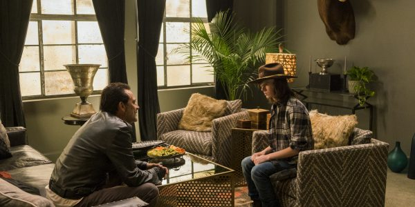 Jeffrey Dean Morgan as Negan, Chandler Riggs as Carl Grimes - The Walking Dead _ Season 7, Episode 7 - Photo Credit: Gene Page/AMC