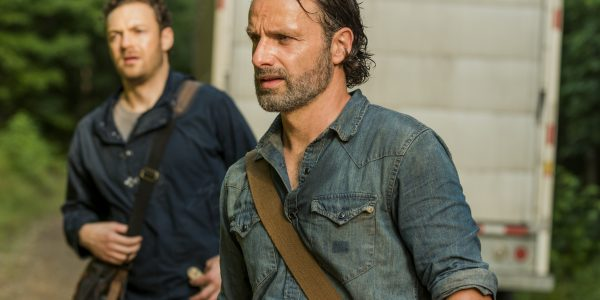 Andrew Lincoln as Rick Grimes, Ross Marquand as Aaron- The Walking Dead _ Season 7, Episode 7 - Photo Credit: Gene Page/AMC