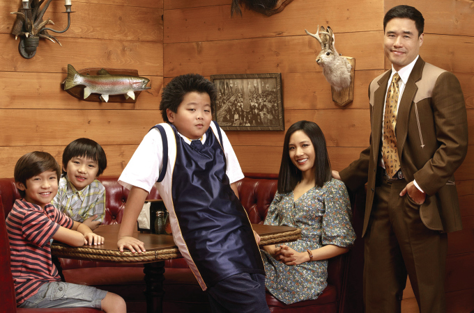 "TV STILL -- DO NOT PURGE -- FRESH OFF THE BOAT - ABC's ""Fresh Off the Boat"" stars Forrest Wheeler as Emery, Ian Chen as Evan, Hudson Yang as Eddie, Constance Wu as Jessica and Randall Park as Louis. (ABC/Bob D'Amico)"
