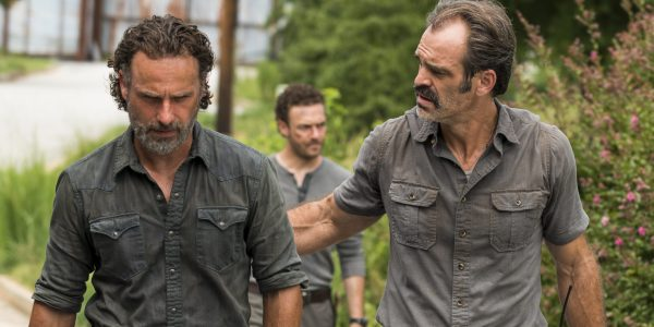 Andrew Lincoln as Rick Grimes, Ross Marquand as Aaron, Steven Ogg as Simon- The Walking Dead _ Season 7, Episode 9 - Photo Credit: Gene Page/AMC